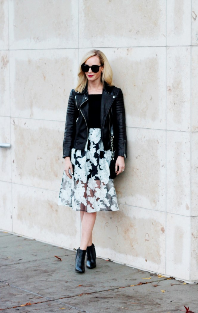 black and white organza dress