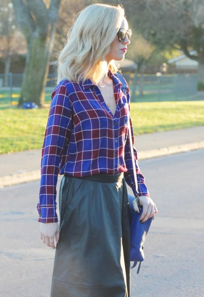 Knee-length Leather Skirt