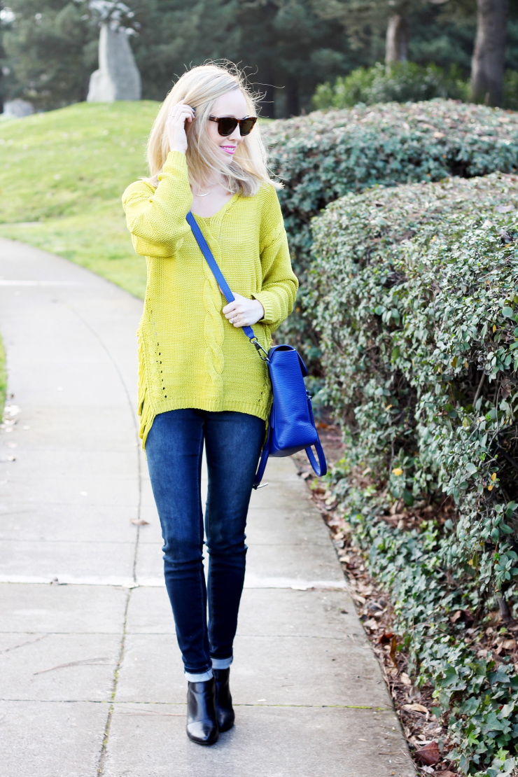 sweater, skinnies and wedge booties