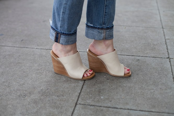 Tan Mules and Boyfriend jeans