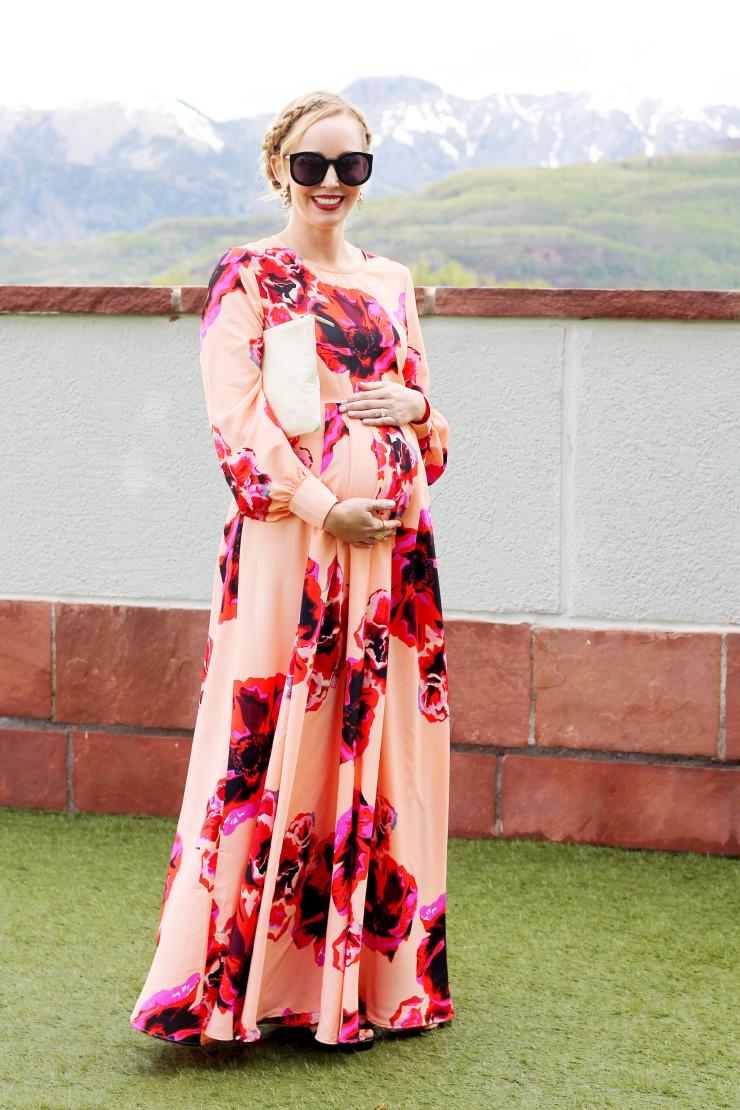 maternity long sleeve maxi dress