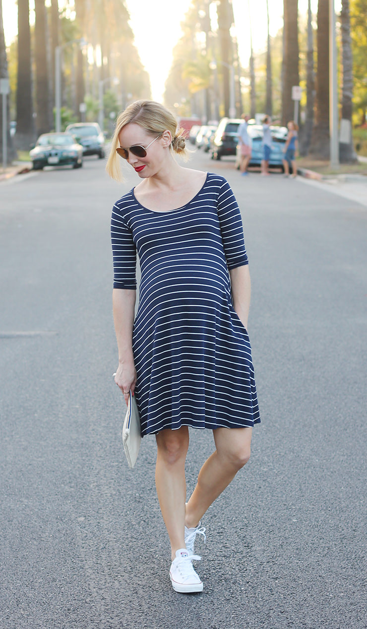 stripe maternity dress
