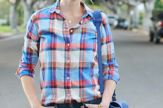j.crew plaid button down