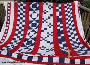 Strip pieced Red, White and Blue Quilt