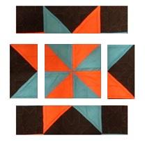 Orange and Blue Star quilt block