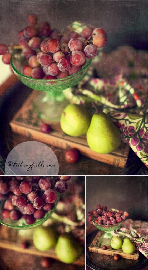 Grapes, Purple, Still Life, Pears, Green, Etsy Fine Art Photograph