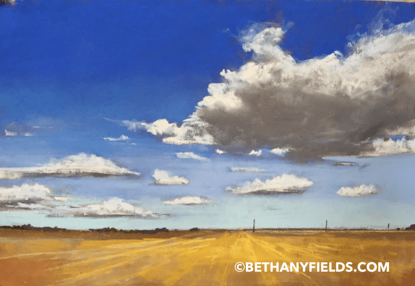 Texas Sky and Clouds with Yellow Farmland Pastel Painting