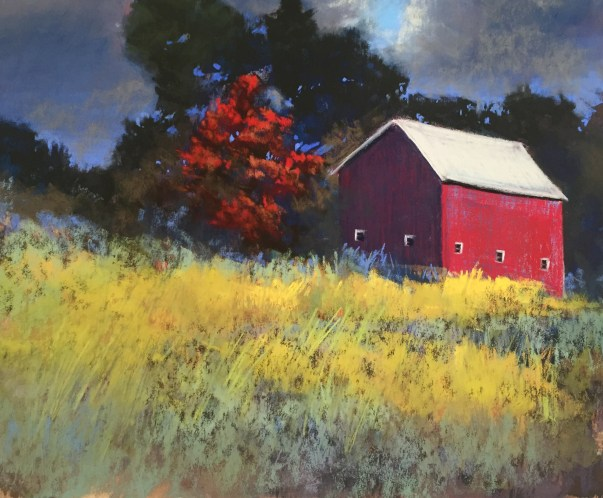 Red Barn in soft pastel in grassy field at twilight