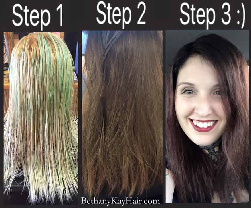 3 steps from blond to chestnut brown in Parker co