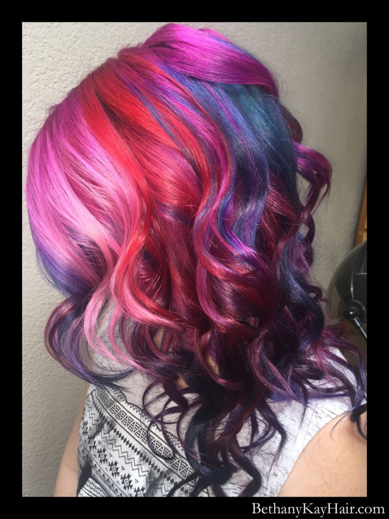 gorgeous rainbow hair with pink, red, orange, aqua, blue and purple