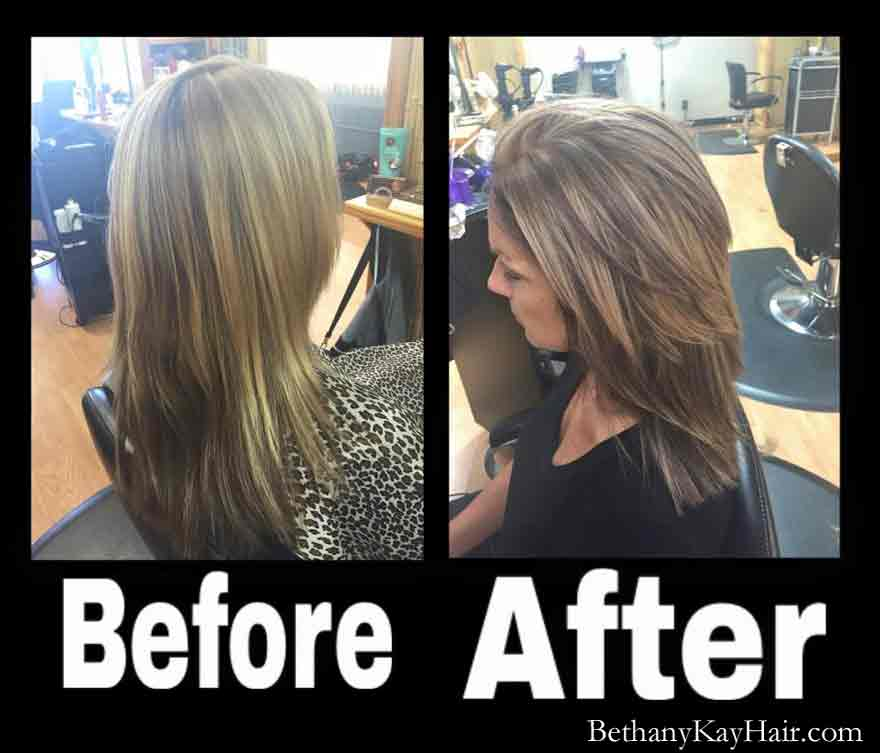 ombre before and after haircut