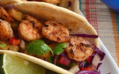 Shrimp Tacos with Grilled Pineapple Salsa