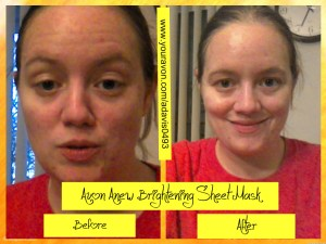 Avon Anew Brightening Sheet Mask Before/After