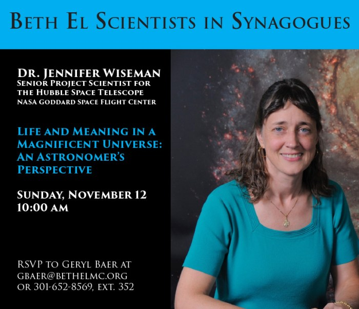 Dr. Jennifer Wiseman - Life and Meaning in a Magnificent Universe: An Astronomer's Perspective - Sunday November 12