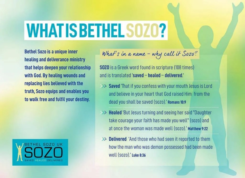 What is Bethel Sozo? Bethel Sozo is a unique inner healing and deliverance ministry that helps deepen your relationship with God. By healing wounds and replacing lies believed with the truth, Sozo equips and enables you to walk free and fulfil your destiny. What's in a name - why call it Sozo? Sozo is a Greek word found in scripture (108 times) and is translated 'saved - healed - delivered.'