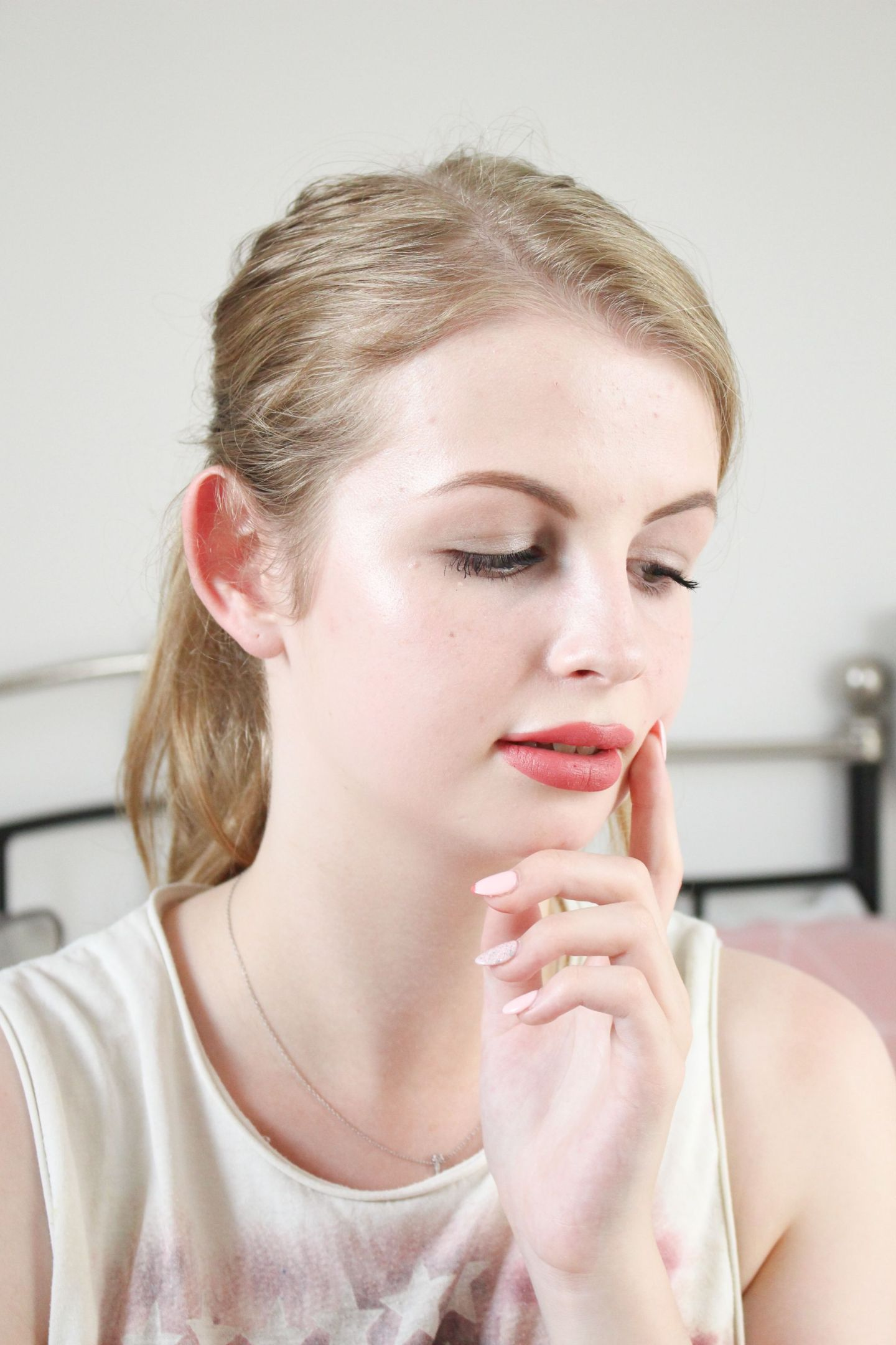Charlotte Tilbury Pin Up Pink lipstick on a pale female