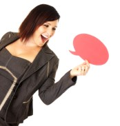 woman speaking with air bubble