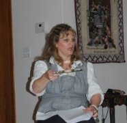 Beth with mirror for Reflection teaching at Women of the Well