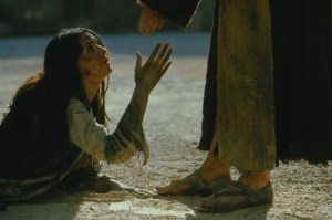 Woman caught in adultery and Jesus, The Passion Movie