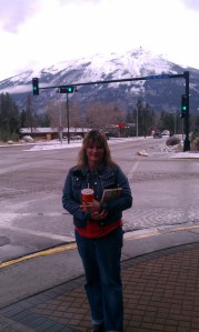 Me in front of mountain in Jasper Canadian Rockies