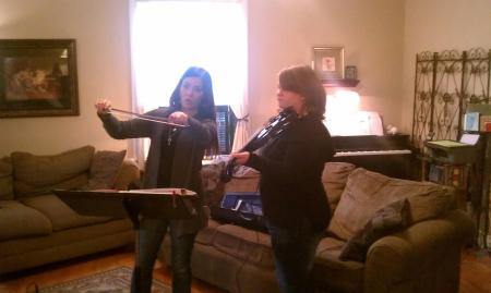 Leah's violin instructor & Leah
