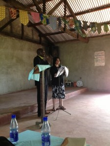 Beth speaking in Kenya, Africa
