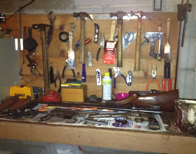 Ray's work bench with tools