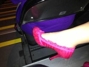 Heather's pink heels