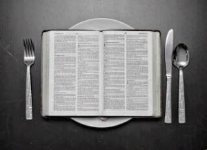 Bible with silverware