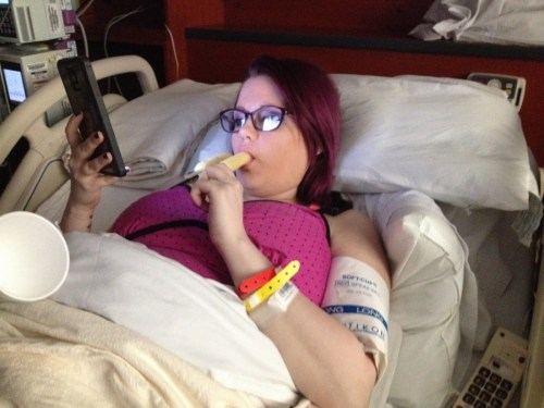 Eden eating popsicle during labor
