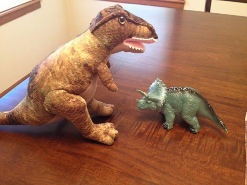 T-Rex and Triceratops dinosaurs