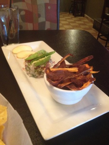 ceviche and sweet potato fries