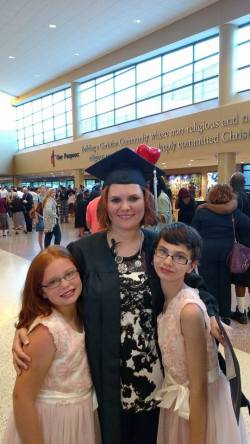 Heather after her graduation with her 2 girls, Violet & Annabelle