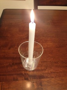 white candle from church