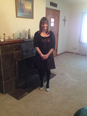 "me in black dress, black wrap, silver shoes & silver cross necklace for our ""silver"" anniversary"