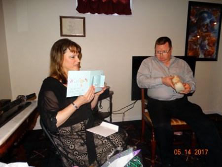 Me & Ray opening gifts at the party