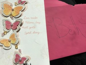 Birthday card with flowers & butterflies