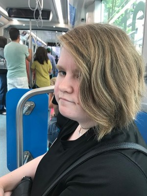 Leah riding the KC Streetcar