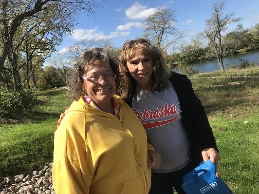 Sisters Kathy & Karen on the scavenger hunt outside