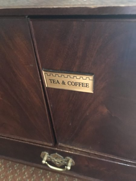 tea & coffee cabinet in hotel room