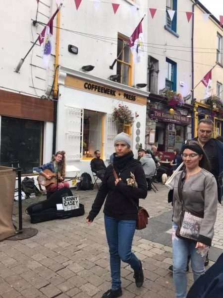Thriving Galway center <br/>A talented street musician--guitarist