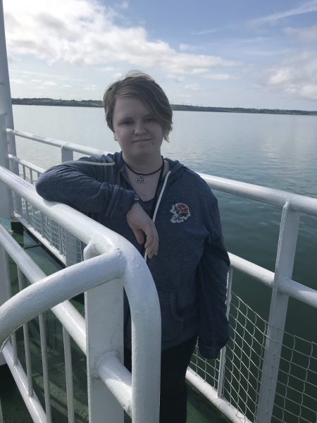 Leah on ferry