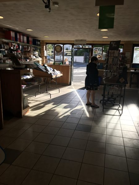 Leah inside Irish post office