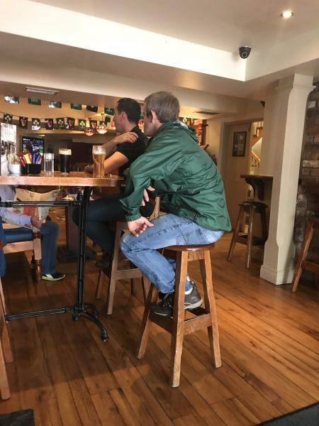 Irish men for my sister Maria, drinking beer at pub