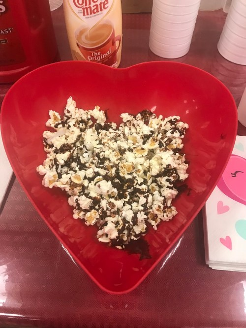Chocolate-drizzled popcorn for work