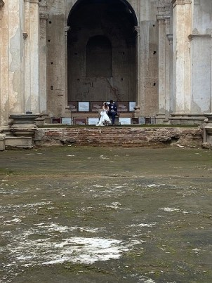 The Bride and Her Groom  in the older, Antigua, Guatemala cathedral
