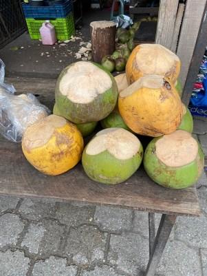 fresh coconut at street market, Jocotenango