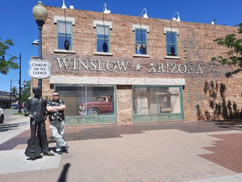 Ray by statue in Winslow, Arizona