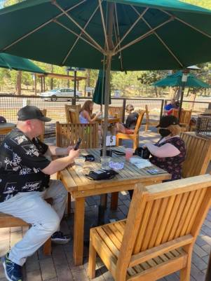 Ray and Leah at restaurant in Grand Canyon park