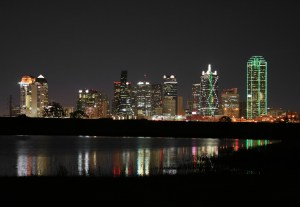 a shot of downtown dallas texas at night.